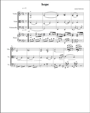 Sheet Music for the Score HOPE