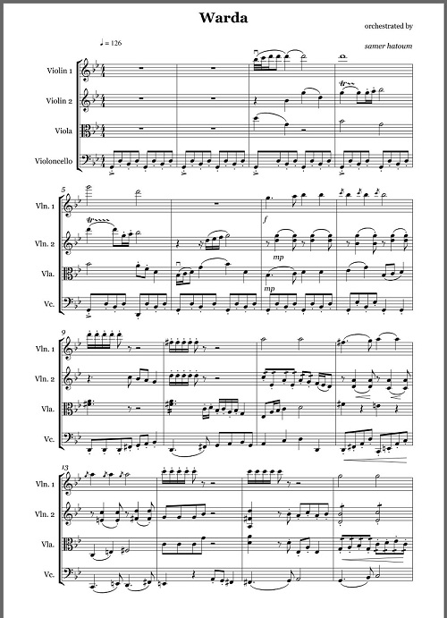 Sheet Music for the Score WARDA